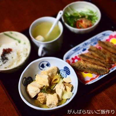 豆腐と白ネギの炒めものの献立