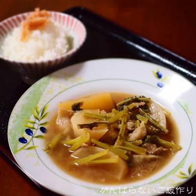 明太子ご飯とカブの煮物