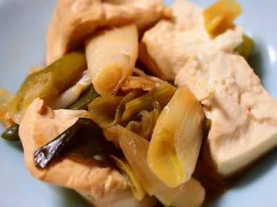 豆腐と白ネギの炒め物
