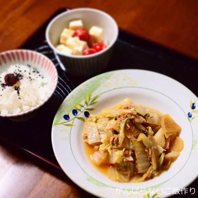 白菜とツナ大根の煮物の献立