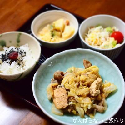 白菜・豆腐・豚肉のうま煮の献立