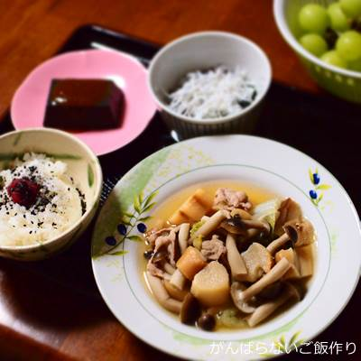 白菜と麩の煮物の献立