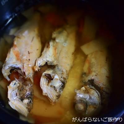炊飯前の炙りのどぐろ姿めしの素