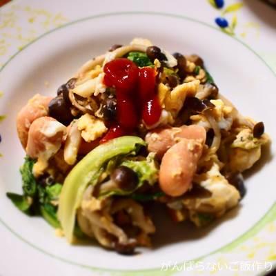 サラダ菜の卵炒め