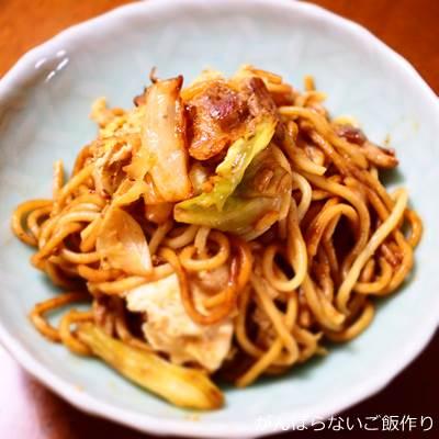 調理した広島オタフクソース付 太麺焼そば 濃厚甘口