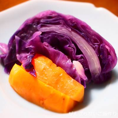 紫キャベツと人参のオイル蒸し
