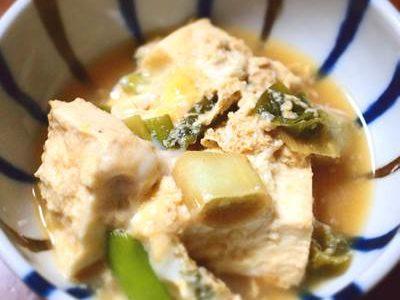 豆腐とネギの卵とじ
