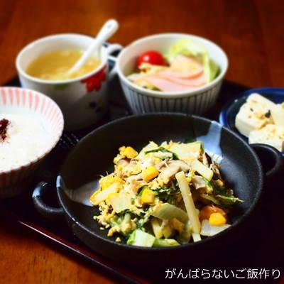 ジャガイモと白菜のチキン卵炒めの献立