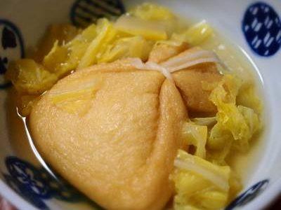 餅巾着と白菜の煮物